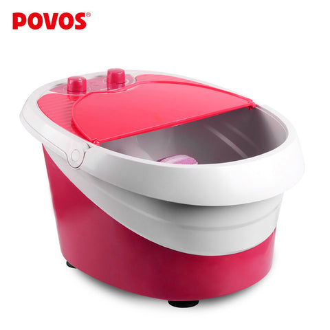 POVOS Fully-automatic Heated Electric Foot Bath Vibration Massage Foot  Bucket Footbath Foot Clean Machine (220-240v) PW701