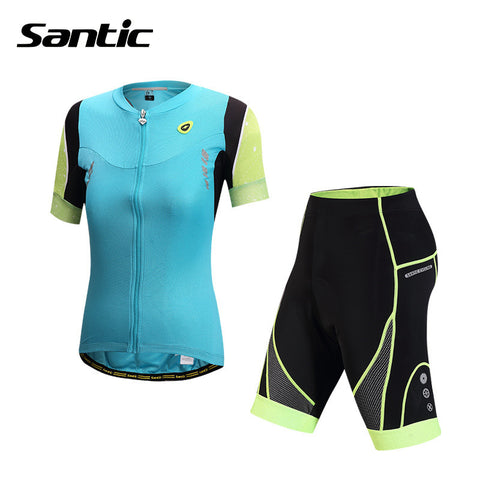 2015 Santic Cycling Jersey + Short 4D Padded Cycling Short Sleeve Set  Women Summer Cycling Jersey Sets Bike Cyling Set L5CT048B
