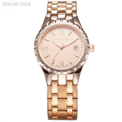 Fashion Rose Gold Women's Quartz Watch Stainless Steel Band Water Resistance Auto Date Display Casual Luxury Women Watch / TC028