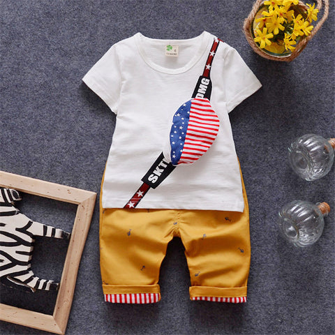 Baby Summer Sets for Boys Toddler T shirt + Plaid Pant Kids Clothes Casual Sets Children Clothing 2016 New Shorts Baby Boys 2-5Y