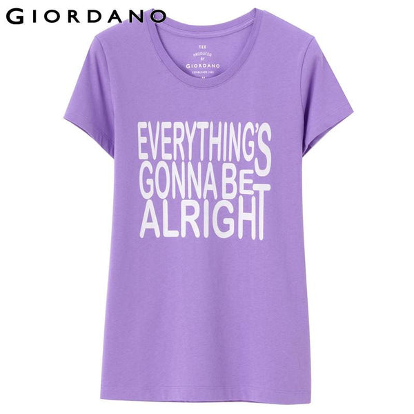 Giordano Women T-shirt Short Sleeves Crewneck Tee Solid Damed Kleding Cotton Casual Clothing Famous Brand Camisetas