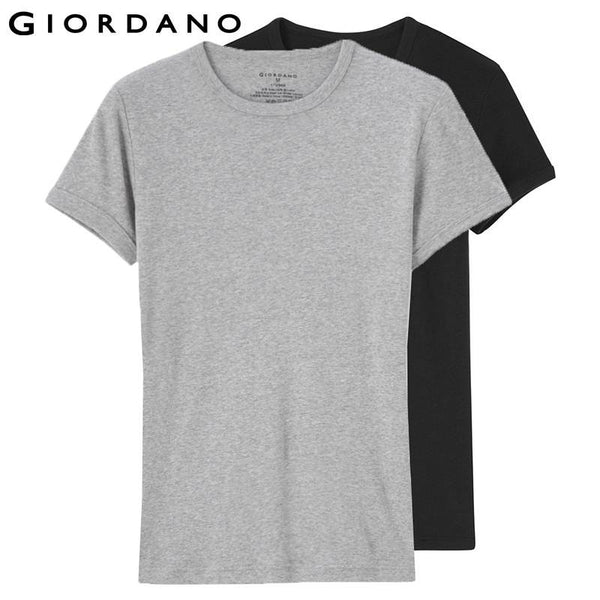 Giordano Men Essentials Solid Undershirt Basic Tshirt Male Short Sleeve O-Neck Tops for Men Camisetas Hombre (2-pack)