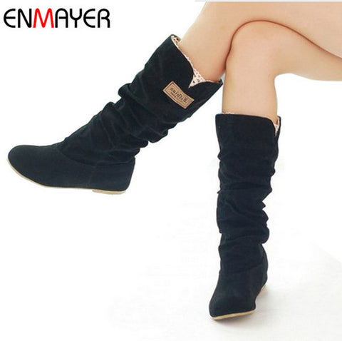 ENMAYER  size34-43 new2015 women winter flats round toe fashion knee-high Snow boots for women casual shoes sweet platform boots