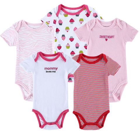 5 pcs / lot Luvable Friends Hanging Baby Clothing,5 Pack Bodysuit Baby Girl Cloting Set 0-3,3-6,6-9,9-12 months
