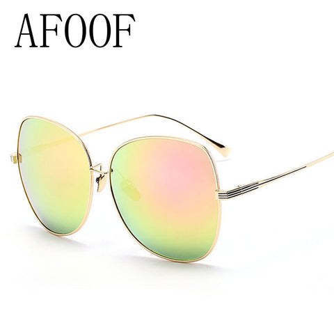 AFOOF 2016 Fashion Sunglasses Brand Designer Oversized Women Glasses Vintage Alloy Frame Coating Sun Glasses UV400 Sunglass
