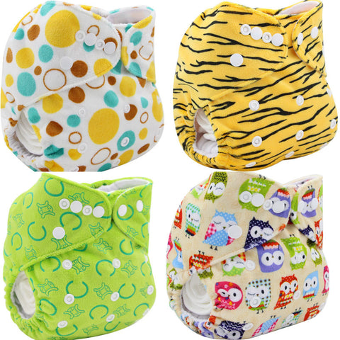 Baby Washable Cloth Diaper One Size Baby Nappy Reusable Pocket Diaper Character Pattern Soft Cotton Baby Diapers Cover Wrap