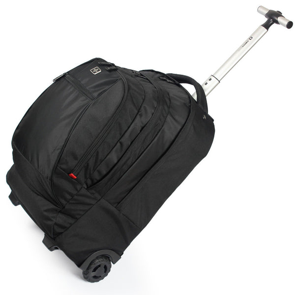 "Swisswin Swiss Gear Wheeled Backpack Black men's Trolley Travel Bag Light Carry on luggage Check in Bags Rolling 17"" Laptop Bag"