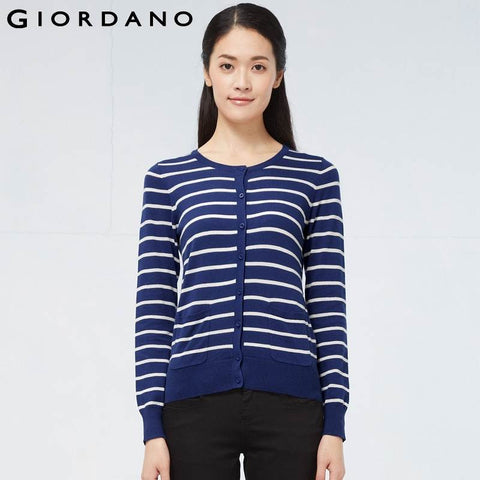 Giordano Women O-Neck Cardigan Solid Soft Cotton Womens Long Sleeve Sweaters Double Pocket Knitted Cardigan Sueter Mujer