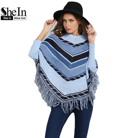 Fashionable Autumn Newest Designer Casual Brand High Street Women's Khaki Black Batwing Geometric Print Tassel Cape Sweater