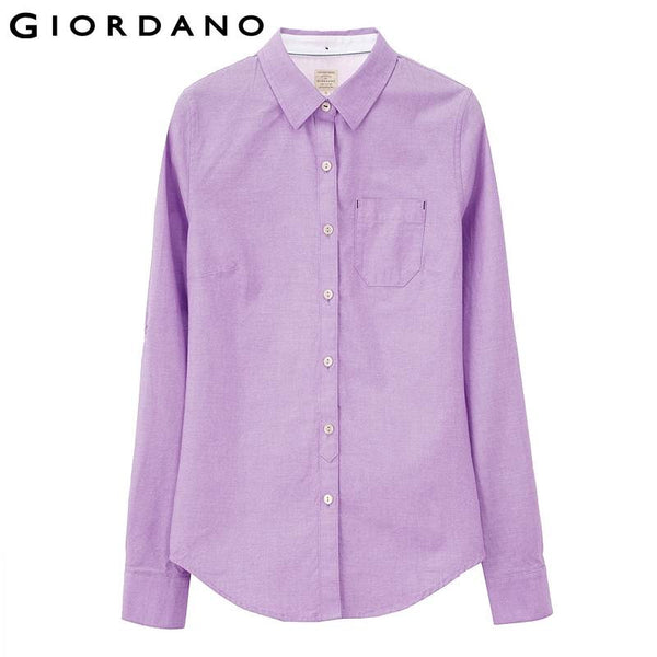 Giordano Women Casual Fashion Long Sleeve Oxford Blouse and Shirt Blusas Camisas Femininas Woman Clothing Pink Collar
