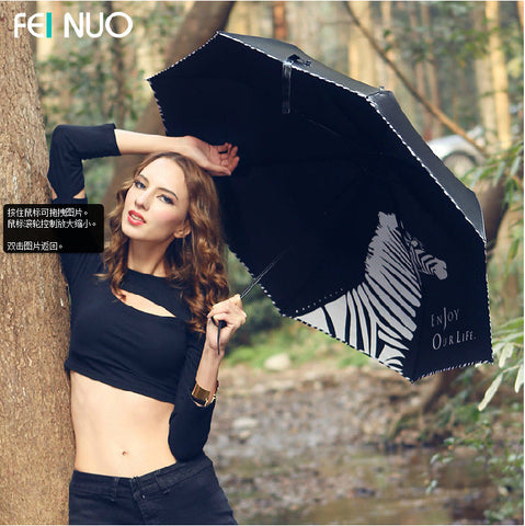 Fino umbrella UV glue zebra black sun umbrella, folding umbrella sunshade super sunscreen
