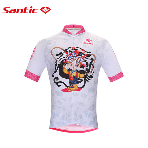 Santic Peking Opera Cycling Jerseys PRO Girl Cycling Clothes Breathable MTB Road Bicycle Shirt Tops Maillot Cyclisme K0602097