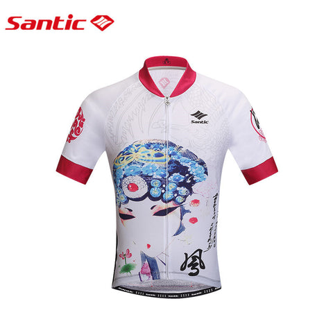 Santic Cycling Jersey Short Sleeve Jersey Chinese Opera Facebook Design Bicycle Breathable Cycling Topwear sport Jersey L0602095