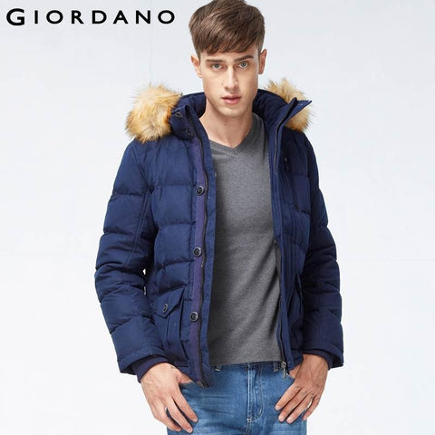 Giordano Men Down Jacket Warm Mens Coat Waterproof Casual and Fashion Machine Washable 90% Duck Down Hooded Parkas