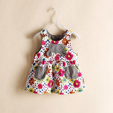 Hotsale 2014 european style summer children dress, american girls dress, printing flower kids girl's dresses, children clothing