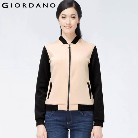 Giordano Women Brand Zip-Front Sweatshirt Colorblock Female Fashion Sports Outer Sudaderas Mujer Survetement Femme Marque