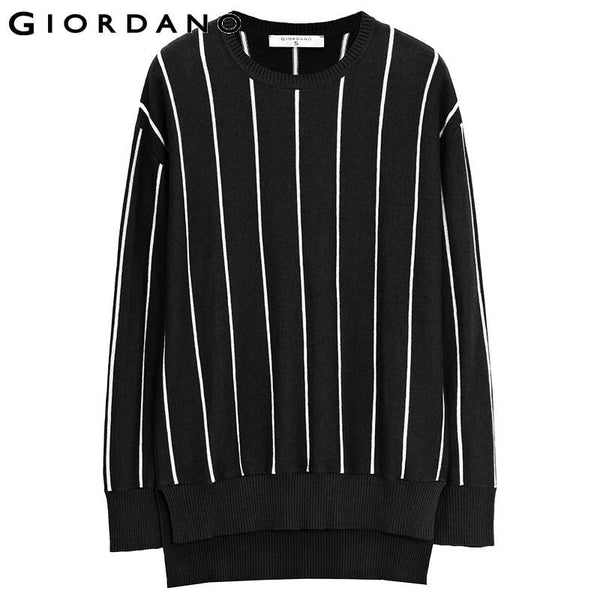 Giordano Women Wool Blended Sweater Stripe Pattern Sweater Side-Vents Pullover Women Sueter De Punto Abbigliamento Donna