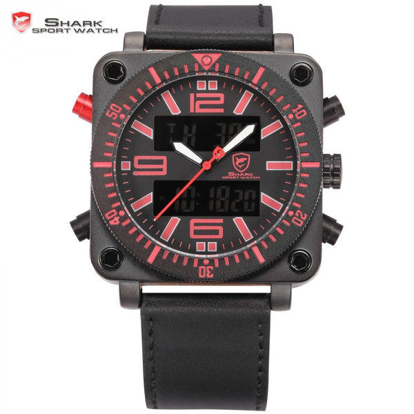 Lantern Shark Sport Watch Stainless Steel Case Chronograph Auto LCD Date Day Alarm Men Military Digital Quartz Wristwatch /SH128