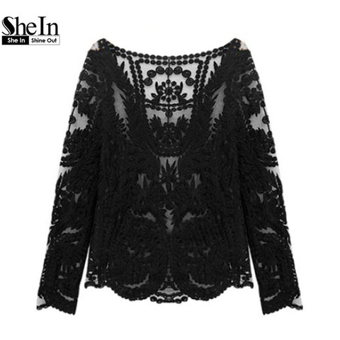 2014 Hot Top New Summer Women's Fashion Hollow Crochet Lace Shirt Casual Black Long Sleeve Blouse