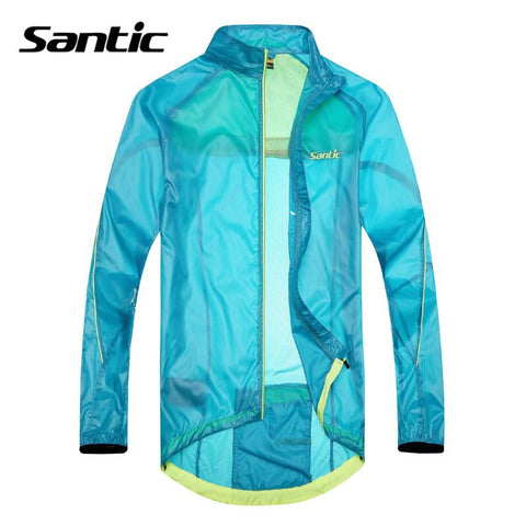 2015 Santic Sky Blue Cycling Raincoat Windproof Light Jacket Long Sleeve Cycling Jersey Men Bike UPF30+ Skin Jacket MC07010B