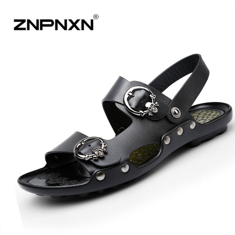 Men Sandals Leather Brand Summer Shoes Platform Sandals