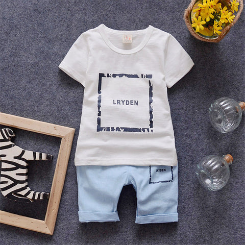 Boys & Girls Clothing Sets for Summer Toddler Set (T-shirt + Pant) 2016 New for 2-5Y Short Sleeves Tshirt  Kids Casual Clothes