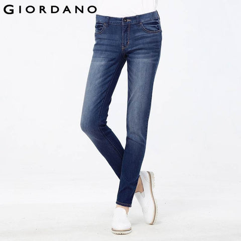 Giordano Women Classic Slim Jeans Female Denim Pants Jeans Femme Womens Brand Jeans Blue Pantalones Vaqueros Mujer