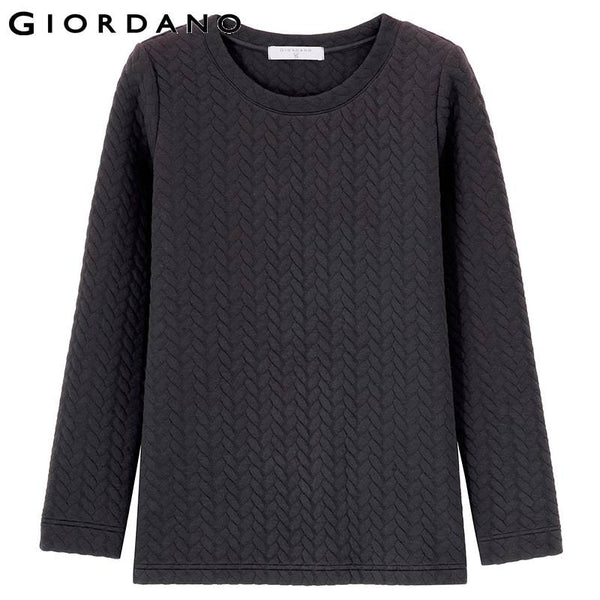 Giordano Women Quilted Sweatshirt Solid Jacquard Pullover Womens Casual Warm Clothing Abbigliamento Donna