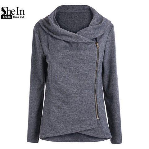 2014 New Arrival Autumn Latest Designs Hot Top Casual Navy Long Sleeve Contrast Trims Zipper Coat Women Fashion Cool Outerwear