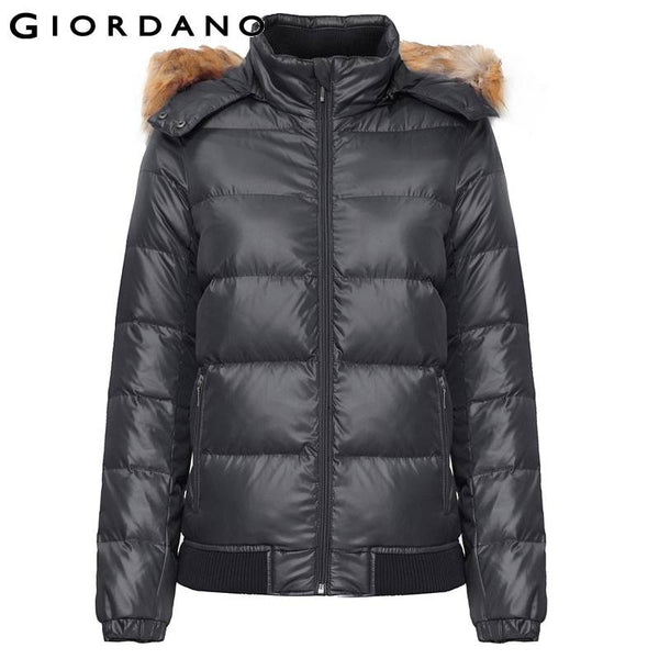 Giordano Women Down with Faux Fur-Trim Hood  Womens Puffer Coat Winter Warm Clothing for Woman Outdoor Windproof Down Jacket