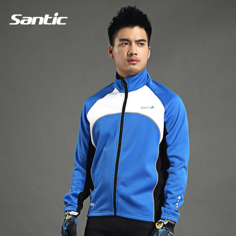 2015 Santic Winter Mountain Blue Cycling Jacket Long Sleeve Mens Bike Bicycle Team Clothing Cycling Jersey Men Jackets C01024B