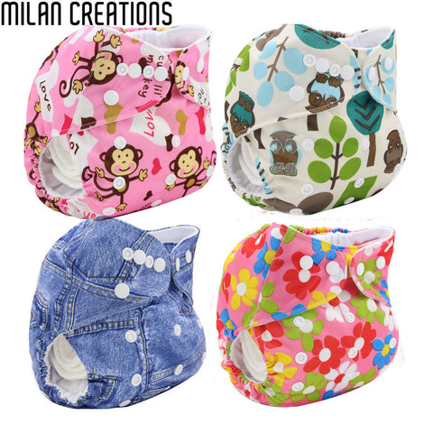Reusable Cloth Diapers Baby Nappies Changing Cotton Baby Pocket Disposable Diapers Training Pants Cartoon Baby Diaper Cover Wrap
