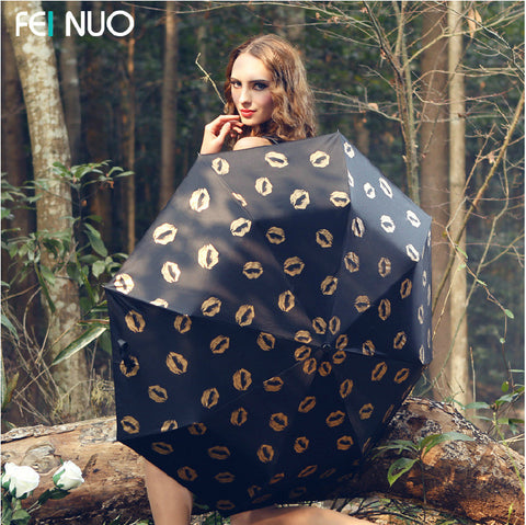 Feinuo fashion anti UV umbrella rain sunshade umbrella folding umbrella super sunscreen lipstick