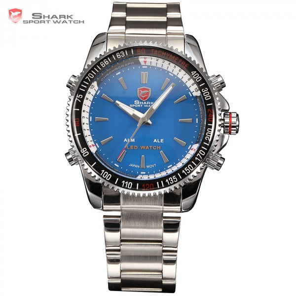 SHARK Sport Watch Analog LED Dual Time Alarm Silver Stainless Full Steel Quartz Blue Military Outdoor Men's Wristwatch / SH002