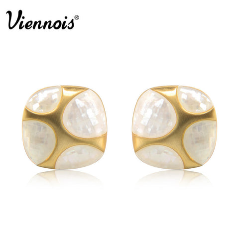 2015 Hot Spring Summer Viennois Jewelry Collection Classic Rose Gold Plated Stud Earrings of Square Stone for Women