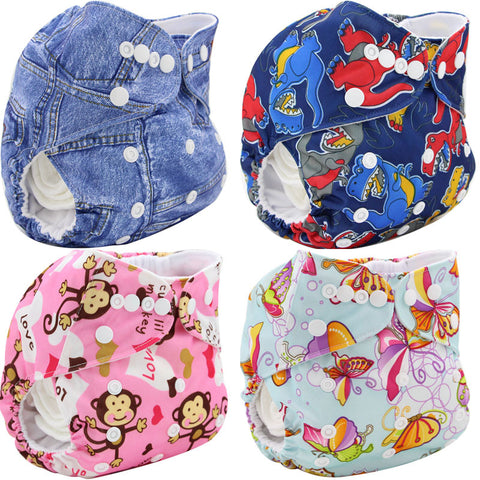 1PC Reusable Cloth Diapers Infant Nappy Diapers Covers Cartoon Print Washable Diapers Size Adjustable Baby Training Pants