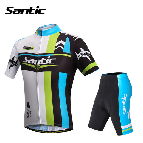 2015 Santic Cycling Jersey + Short 4D Padded Set Bicycle Bike Mens Cycling Jersey Summer Short Sleeve Shirt WMCT047V