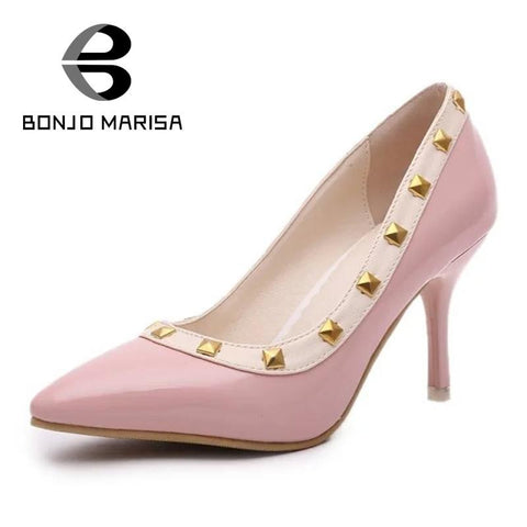2016 big brand hot sale slip on thin high high sexy pointed toe square rivets pumps comfortable sole platform dress shoes