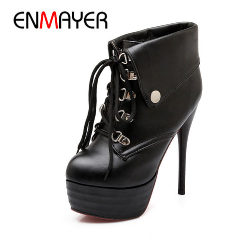 ENMAYER Classic Women Spring&Autumn Ankle Boots Winter Warm Fur Boots Sexy High Heels Lace up Fashion Platform Boots Size 34-43