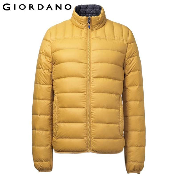 Giordano Men Down-Jacket Reversible Winter Warm Coat Ourterewear Casual and Fashion 90% White Duck Down Double Side