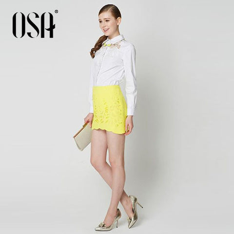 OSA 2015 Spring New Arrivals OL Women Skirt Embroidery Hollow Out Saias Femininas Casual Lace Mini-Skirt High Quality SQ430004
