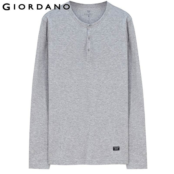 Giordano Men Famous Brand Henley T-Shirt Fashion Long Sleeve Tshirt Casual Fitness T-shirt Male Camisetas Masculinas