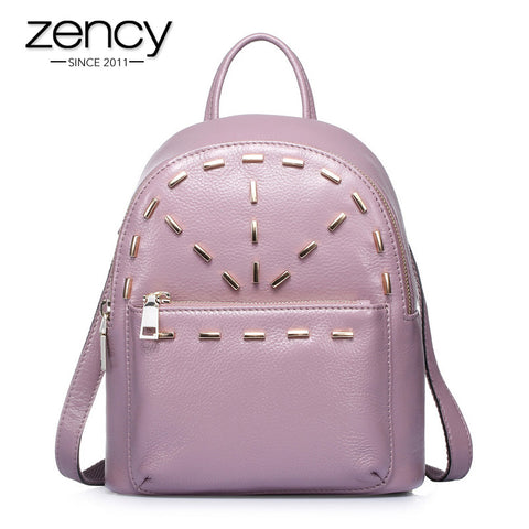 2 Size 2016 HOT Rivet Knapsack Famous Women Backpack Modern 100% Genuine Leather School Bags Ladies Designer Laptop Rucksack