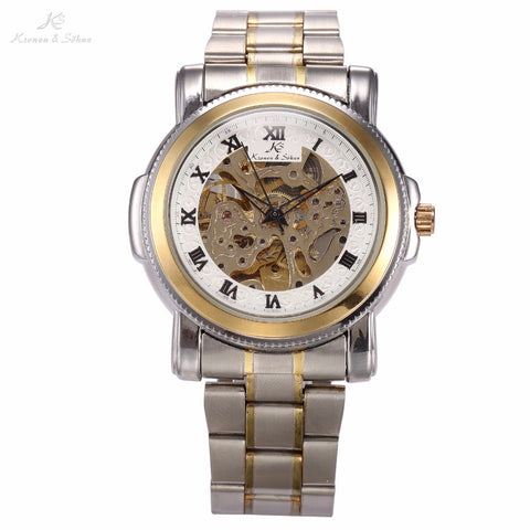 Brand New KS Men's Skeleton Tourbillon Silver Golden Automatic Mechanical Stainless Steel Band Wrist Dress Watch / KS040