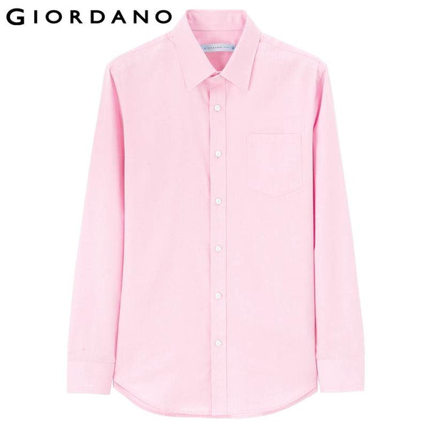 Giordano Men Shirt Long Sleeves Office Dobby Business Clothes Shirts Mens Wear Collar Cotton Blending Chemise Homme Brand