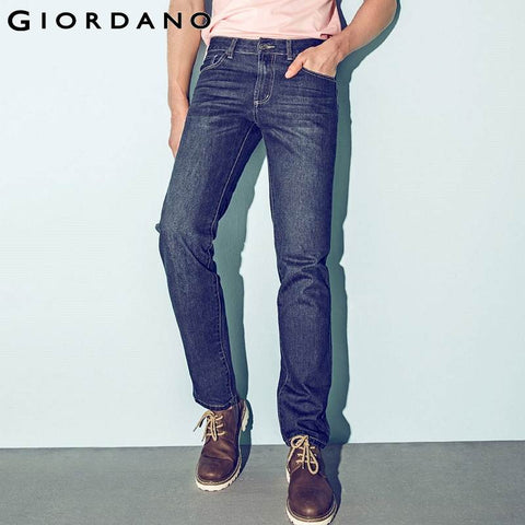 Giordano Men Brand Jeans Winter Fashion Casual Denim Pants Trousers Cotton Mordern Straight Hot Sale Large Size