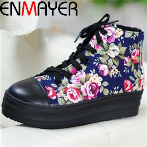 ENMAYER free shipping womens luxury brand printing lace-up high sneaker sport Casual woman sneaker shoes size 35-43