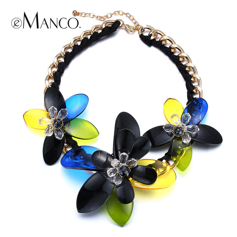 //Acrylic necklace flower jewelry// gold link chain choker short necklace new 2015 casual women summer trendy necklace eManco