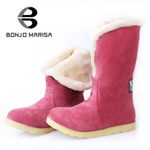 2015 Big Size 34-43 Fashion Women Warm Boots Flat Heels Round Toe Platform Spring Winter Ankle Boots Half Knee High Fur Shoes