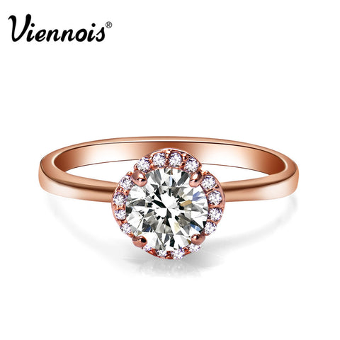 2015  Viennois Rose Gold Plated Fashion Jewelry Rings Stud Zircon Finger Rings For Women New